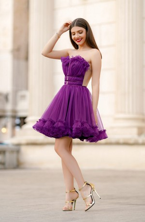Rochie de seara scurta baby doll din tulle Efess Mov Ultraviolet